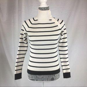 Tommy Hilfiger Jeans L Cream Black Striped Sweater